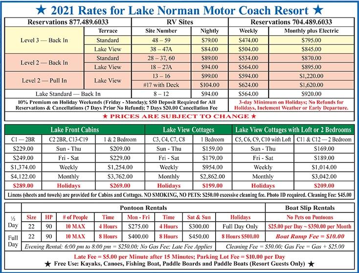 Rates - RV Lake Norman Motor Coach Resort